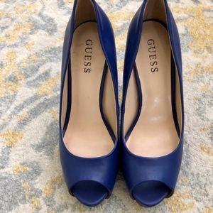 New Cobalt Blue GUESS open toed Platform Heels Sz8